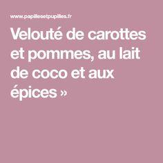 Velouté de carottes et pommes, au lait de coco et aux épices »