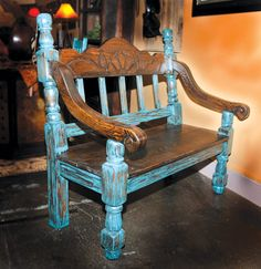Turquoise Furniture Western | Turquoise Bench | Bitterroot Bit & Spur Western Furniture, Distressed Furniture, Rustic Furniture, Diy Furniture, Southwestern Benches, Southwestern Style, Tex Mex, Homemade Bench, Turquoise Painted Furniture
