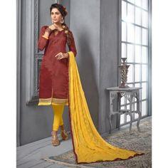Chanderi Cotton Dusty Rust Churidar Suit Dress Material - 16516