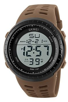 7eb937e8d5e SKMEI Mens Military Big Face Casual Sports Chronograph LED Digital Watches  Brown    You can