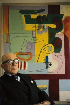 "Rene Burri Le Corbusier sitting by his 1939 painting ""Nature morte, Vezelay"" at…"