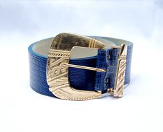 Gorgeous Navy Blue and Gold Vintage Belt  Great by DIXIETEXTILES, $18.00