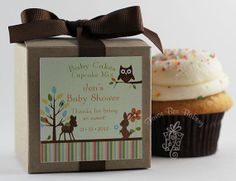 Woodland Animals Baby Shower Ideas | Baby Woodland Animals One Dozen Personalized by FavorBoxBakery, $40.00