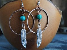 Tribal Earrings, Turquoise Earrings, Feather Charm, Large Copper Hoops, Southwest Jewelry, Native American, Boho Earrings