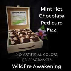 Mint Hot Chocolate Aromatherapy mini heart bath fizz gift pack,12 pack chalkboard box,