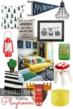 Outdoorsy Camp Room Ideas for Kids Playroom #woodland
