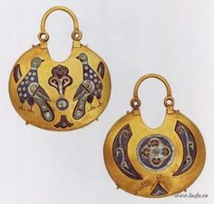 Earrings with enamel and painting, before the 13th century, Russia. The drawing of two falcons around The Tree of Life was based on one of the most famous symbols of Ancient Russia
