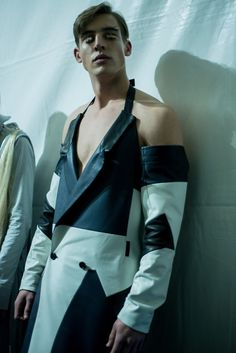 A leather deconstructed and patchwork coat backstage at Hood By Air AW15 at Pitti Uomo. See more here: http://www.dazeddigital.com/fashion/article/23218/1/hood-by-air-aw15-arca-soundtrack-stream