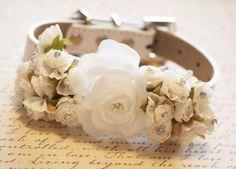 White Ivory Wedding Dog Collars with white flowers, High Quality dog collar, Floral Wedding Dog Collar