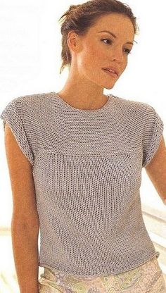 Summer top knitted with large needles