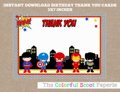 Superhero Thank You Card Superheroes Thank You Cards Marvel