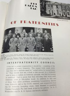 Known as the Mother of fraternities, Phi Kappa Tau, was one of the first to be established. It became a national organization and allowed students to enter the most social type of organizations offered at Miami. These fraternities held parties and rush events and they also had strict policies on helping the community. #MUArchives #1932Recensio