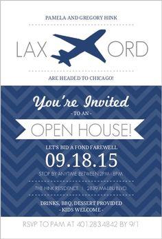 Navy White Jet Plane Modern Farewell Open House Invite