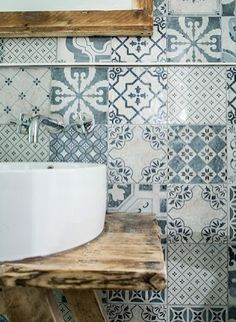 #bathroom #tile #pattern #timber #basin #blue #country