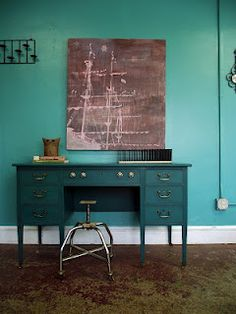 This desk is awesome.  Love the teal.  Check out the Vintage Ground blog.