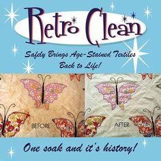 """Retro Clean is the vintage linen cleaner I use.  It's amazing.  Click through to see my """"before"""" and """"after"""" pictures."""