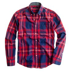 Slim tartan shirt in vintage navy and red $80.50 at J. Crew