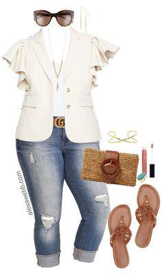 9efd849f0 Plus Size Ruffle Blazer Outfit - Plus Size Summer Casual Outfit Idea - Plus  Size Fashion