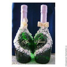 Свадебное шампанское - две бутылки (оформление) - белый,свадебное шампанское