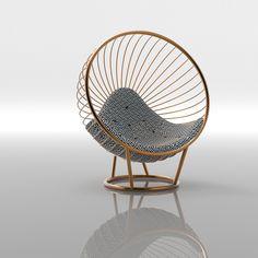 Copper Bubble Chair with Arabic patterned cushion by Ben Rousseau Bubble Chair, Office Designs, Cushion Fabric, Automotive Design, Texture Art, Modern Interior, Bubbles, Copper, Cushions