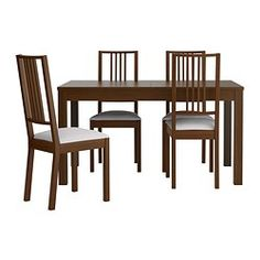 "BJURSTA/BÖRJE table and 4 chairs, Gobo white, brown Length: 55 1/8 "" Length: 140 cm"