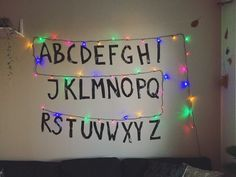 Bought christmas lights and cut out letters for a Stranger Things-wall at my Halloween party.