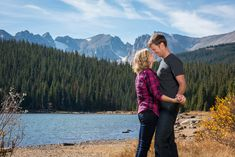 Brainard Lake Fall Engagement Mountain Setting Girl in Pink Guy in Gray