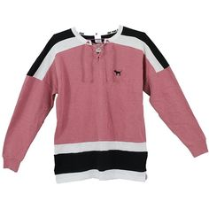 Victoria's Secret PINK Lace-Up Varsity Crew sweatshirt, Begonia... ❤ liked on Polyvore featuring tops, hoodies, sweatshirts, hoodie sweatshirts, crewneck sweatshirt, victoria secret hoodie, black and white sweatshirt and victoria secret sweatshirt