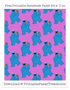 Free Orchid Large Cookie Monster Pattern Paper - Sesame Street