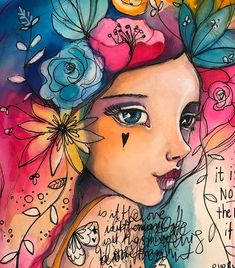 """Have very little time available lately (2 mega extra projects going on on top of the normal workload) so am continuing to work in the travel journal when I need some art/ me time as these take less time. I'm loving doing these though. It's a become a bit of a series of """"flower girls"""". :) #mixedmedia #tamfb #willowing #willowingarts #artjournal #traveljournal"""