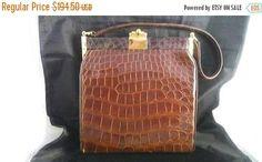 Now On Sale Real Alligator Handbag Mid Century 1960's