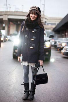 Naomi Nevitt - School girl's coat, White Skirt, Grey cotton tights & Boots !