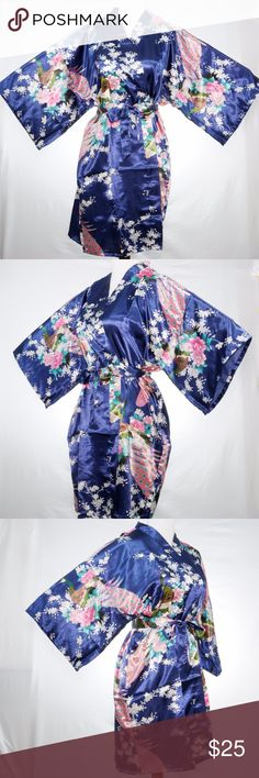 """Dark Blue Silk Satin Kimono Style Robe Beautiful Happycoat style robe that's soft and comfortable.   Wear this on special occasion with something sexy underneath and surprise your significant other. Underarm to underarm:  27"""" wide across Length:  35"""" 95% Silk Satin Mei Yesida Intimates & Sleepwear Robes"""