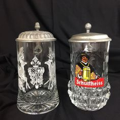 Two Beer Steins Glass With Pewter Lid  .4 Liter Buck Deer Hart Elk Schultheiss