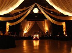 Wedding Reception decorating a gym for a wedding reception - Bing Images - Learn from Nashville wedding rental company Events Plus how to transform your reception space into a grand venue all while staying within your budget. Prom Decor, Wedding Decorations, Christmas Decorations, Aisle Decorations, Wedding Rentals, Wedding Venues, Gymnasium Outfits, Wedding Reception On A Budget, Reception Ideas