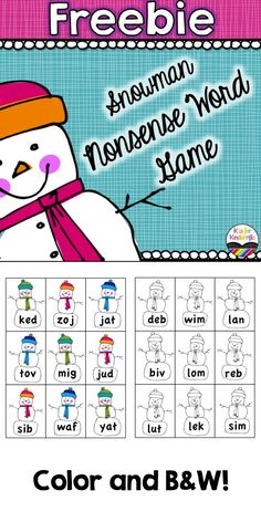FREEBIE: Nonsense Word Game in color and B&W!