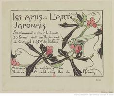 Les Amis de l'Art Japonais se réuniront à dîner le Jeudi 20 Février. 1908 au Restaurant du Cardinal 1 B.ard des Italiens : [carton d'invitation, estampe]