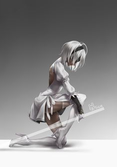 The white Nier Automata also very amazing. Character Concept, Character Art, Concept Art, Anime Fantasy, Fantasy Girl, Fantasy Characters, Female Characters, Comics Anime, Anime Art Girl