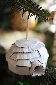 Today's ornament was inspired by these adorable ornaments  from Anthropologie.I love the idea of raiding the recycling bin for craft suppli...