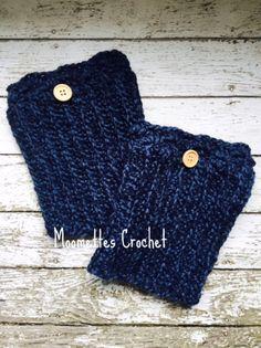 Handmade Boot Cuffs Wool Dark Blue Twill Boot by MoomettesCrochet