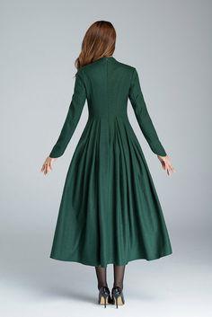 green wool dress elegant dressprom dress party dress maxi
