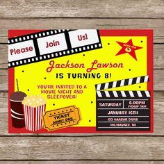 Printable Movie Star Birthday Sleepover Invitation - Digital File. $7.99, via Etsy.