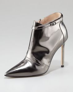 Istbofac Metallic Leather Ankle Boot by Manolo Blahnik at Neiman Marcus.
