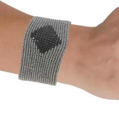 Indies    Handmade Macrame Gray Silver Hematite Cuff Bracelet - Anthos Crafts - 1