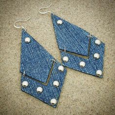Denim Earrings Broken Arrow Denim Jean Earrings