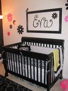 baby nursery rooms   Black & White Nursery With Touches of Pink - Design Dazzle