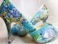 Tropical Island wedding shoes with lace #lace #heels www.loveitsomuch.com