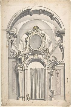 Design for an Elaborate Doorway with a Vaulted Ceiling Behind, and a Curtain Drawn Across the Opening