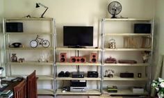 While I don't care for the color of this unit, I love that the shelves are adjustable | Industrial Shelf