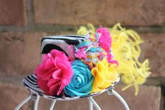 Mini Top Hat fascinator Funky Zebra Mad by fancygirlbowtique, $24.00